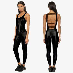 KORAL Jet Black Infinity Jumpsuit Legging Bodysuit